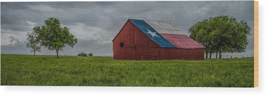Texas Barn Panorama Wood Print