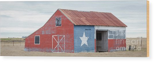 Texas Barn With Goats And Ram On The Side Wood Print