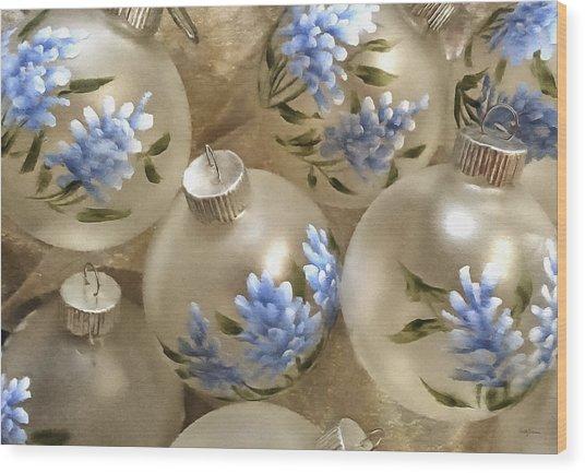 Texas Bluebonnet Ornaments Wood Print