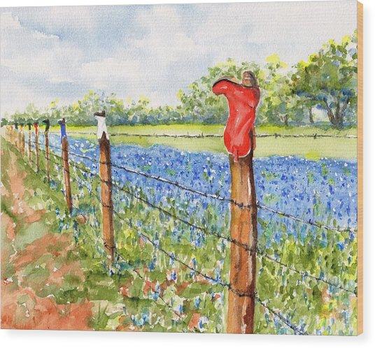 Texas Bluebonnets Boot Fence Wood Print