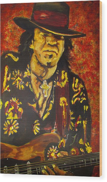 Texas Blues Man- Srv Wood Print