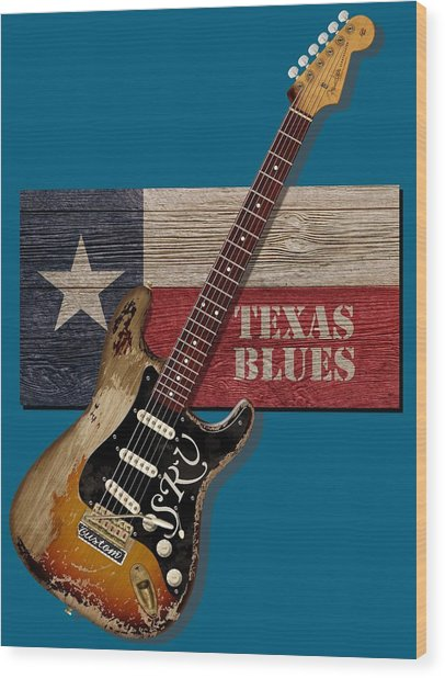 Texas Blues Shirt Wood Print