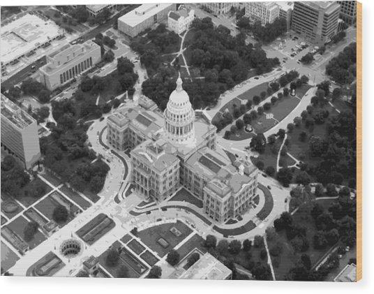 Texas Capitol Bw10 Wood Print