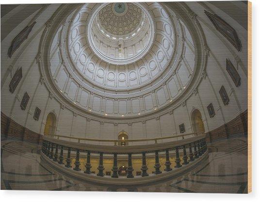 Texas Capitol Dome Wide Angle Wood Print