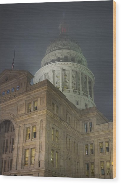 Texas Capitol In Fog Wood Print