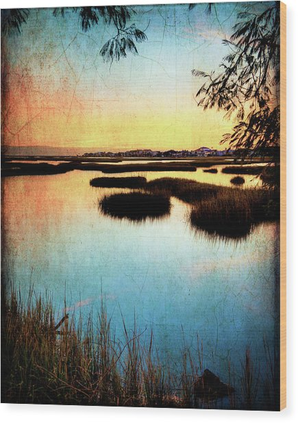 Texas City Wetlands Sunset Wood Print