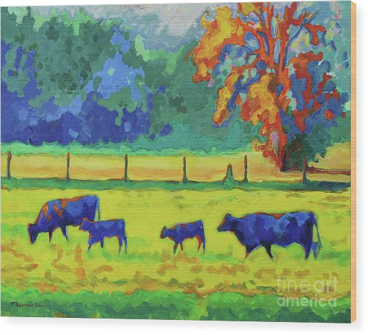 Texas Cows And Calves At Sunset Painting T Bertram Poole Wood Print