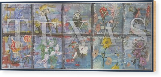 Texas Flowers In Blue Wood Print