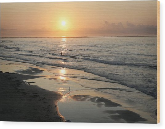 Texas Gulf Coast At Sunrise Wood Print