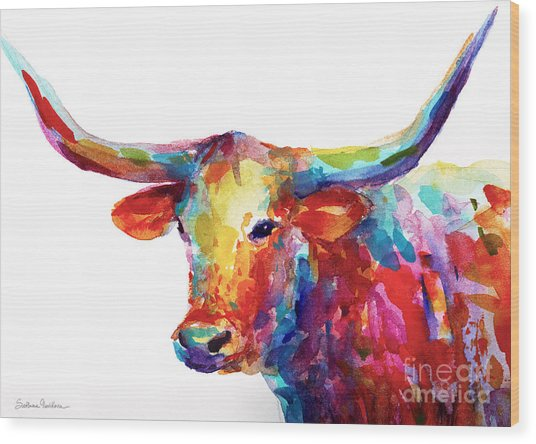 Texas Longhorn Art Wood Print