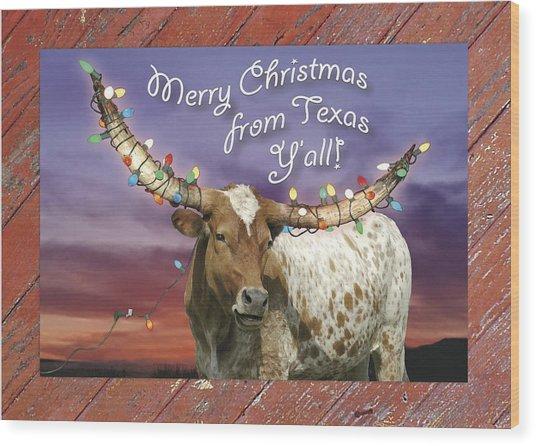 Texas Longhorn Christmas Card Wood Print