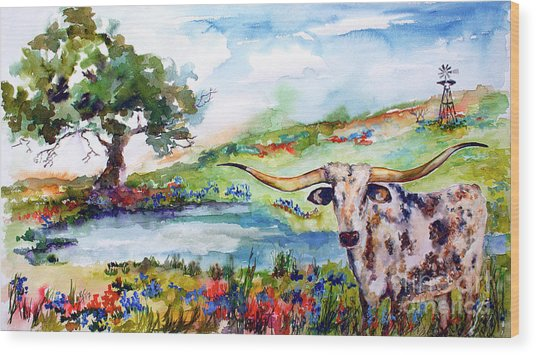 Texas Longhorn Landscape With Bluebonnets And Indian Paintbrush Wood Print