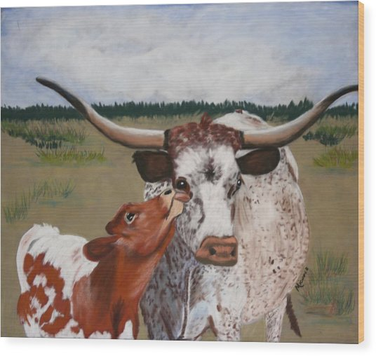 Texas Love Wood Print by Michele Turney