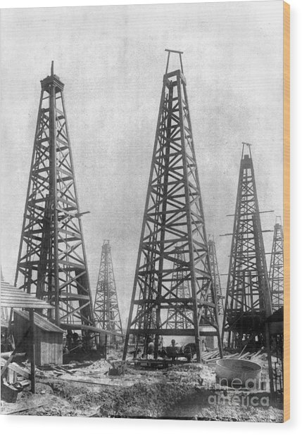 Texas: Oil Derricks, C1901 Wood Print