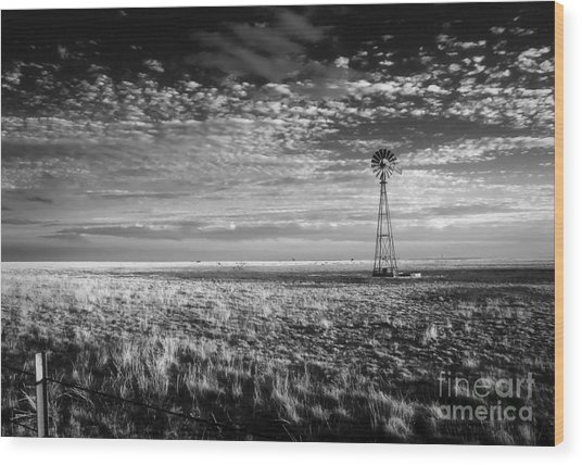 Texas Plains Windmill Wood Print