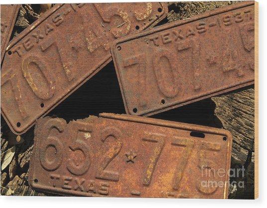 Texas Plates Wood Print