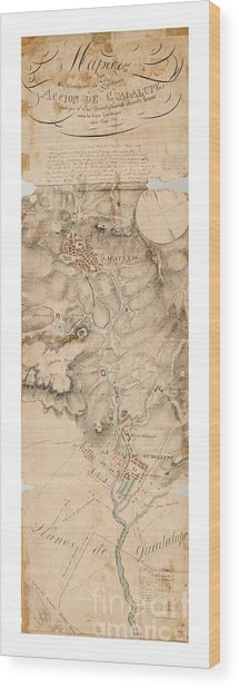 Texas Revolution Santa Anna 1835 Map For The Battle Of San Jacinto With Border Wood Print