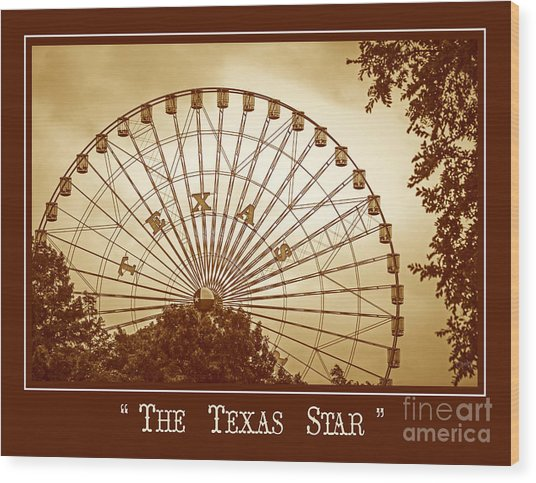 Texas Star In Gold Wood Print