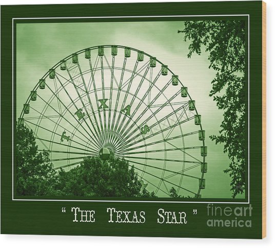 Texas Star In Green Wood Print