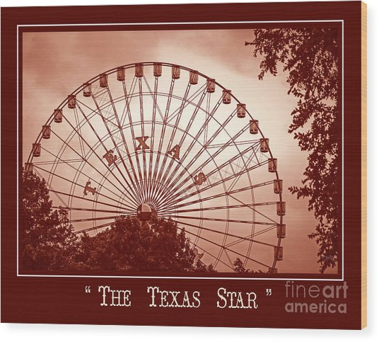 Texas Star In Orange Wood Print