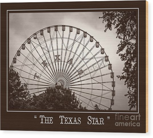 Texas Star In Sepia Wood Print
