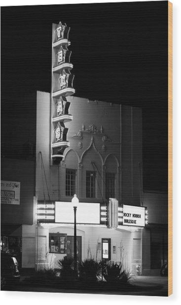 Texas Theater Oak Cliff Bw Wood Print