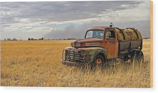 Texas Truck Ws Wood Print by Peter Tellone
