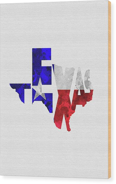 Texas Typographic Map Flag Wood Print