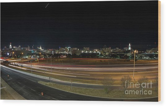 Texas University Tower And Downtown Austin Skyline From Ih35 Wood Print