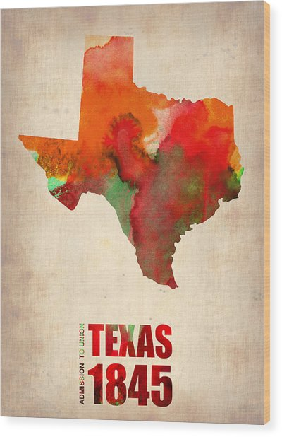 Texas Watercolor Map Wood Print