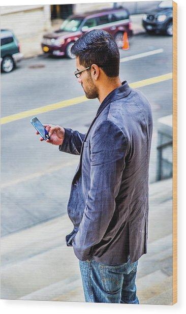 Man Texting Wood Print