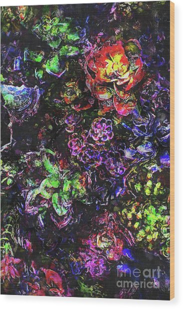 Textural Garden Plants Wood Print