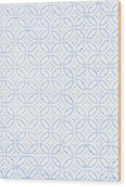 Textured Blue Diamond And Oval Pattern Wood Print