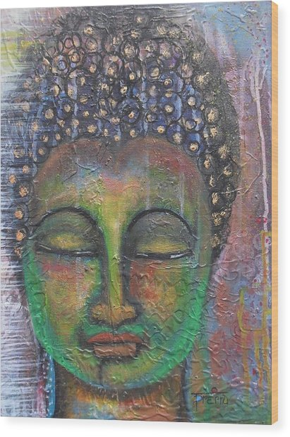 Textured Green Buddha Wood Print