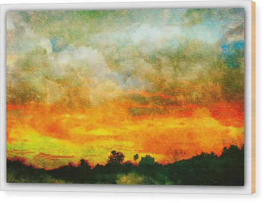 Textured Sunset Wood Print