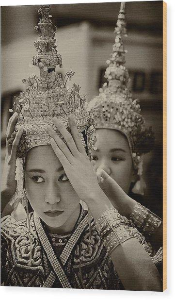 Thai Dancers Preparing Wood Print