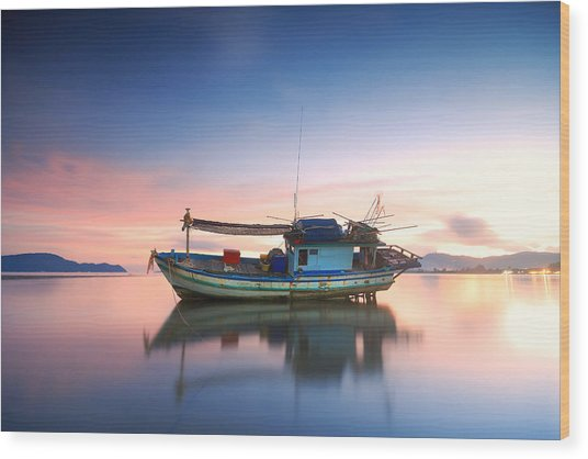 Thai Fishing Boat Wood Print by Teerapat Pattanasoponpong