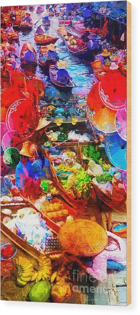 Thai Floating Market Wood Print