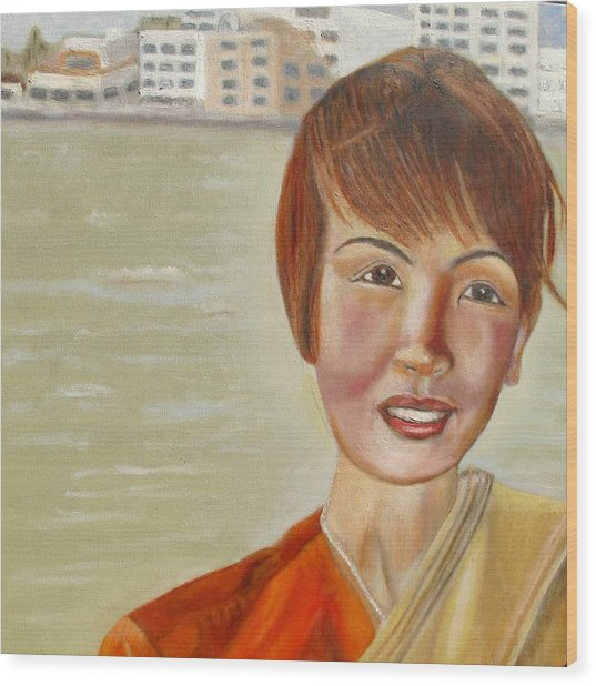 Thai Hostess Wood Print by Keith Bagg