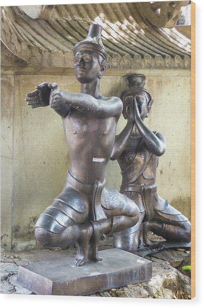 Thai Yoga Statues At Famous Wat Pho Temple Wood Print