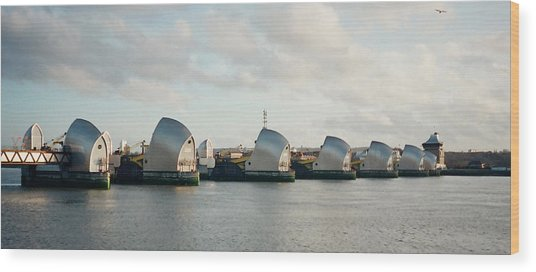 Thames Barrier Wood Print