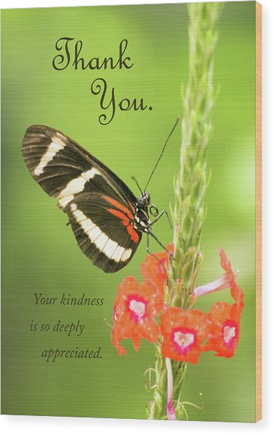 Thank You - Butterfly Wood Print