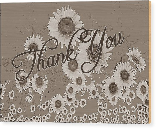 Thank You Card Daisies Wood Print