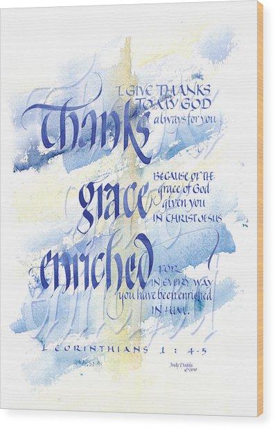 Thanks Grace   Wood Print