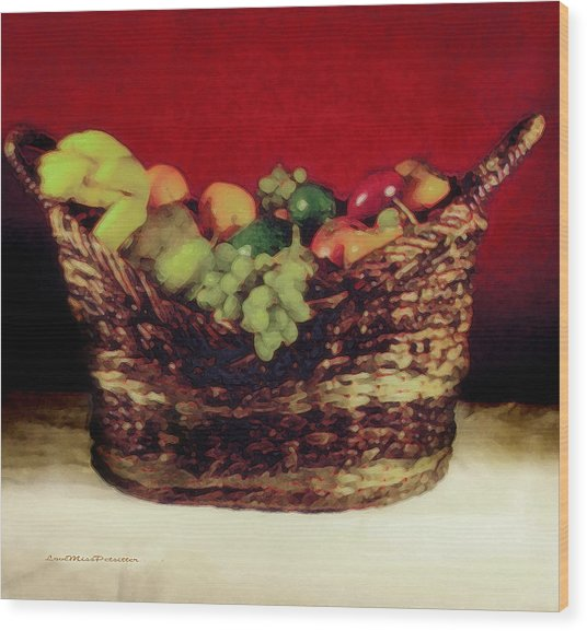 That Basket Of Fruits Painting Wood Print