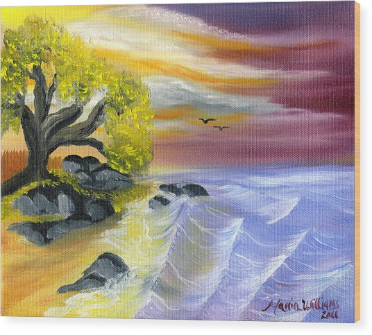 That Yellow Tree By The Sea Wood Print by Maria Williams