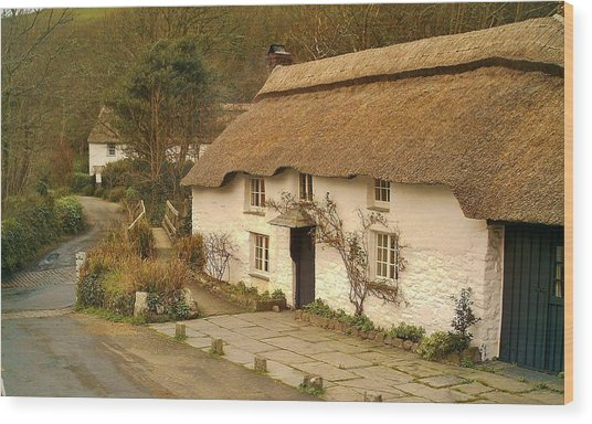 Thatched Cottage By Ford  Wood Print
