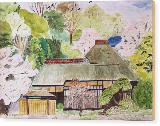 Thatched Japanese House Wood Print