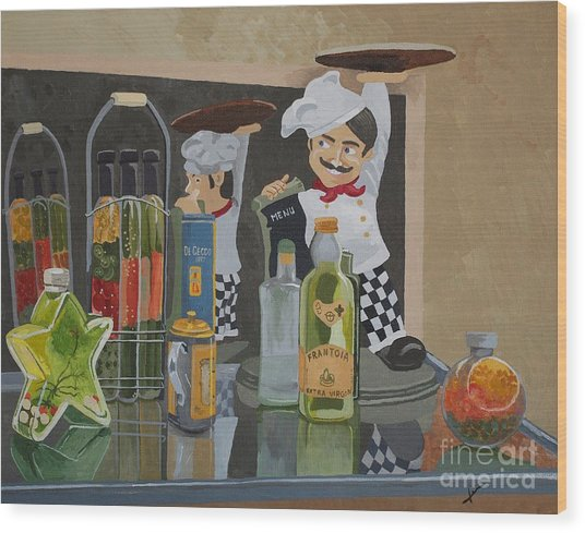 That's Amore II - Like A Big Pizza Pie Wood Print by Jennifer  Donald