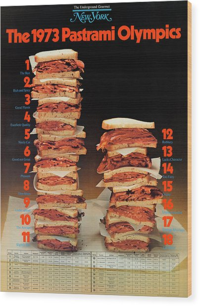 The 1973 Pastrami Olympics Wood Print